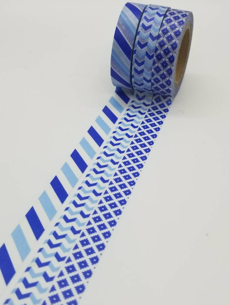 striped blue Planner Tape Bujo washi basic Recollections Crafting Tape Washi Tape Samples patterned washi tape arrows diamonds