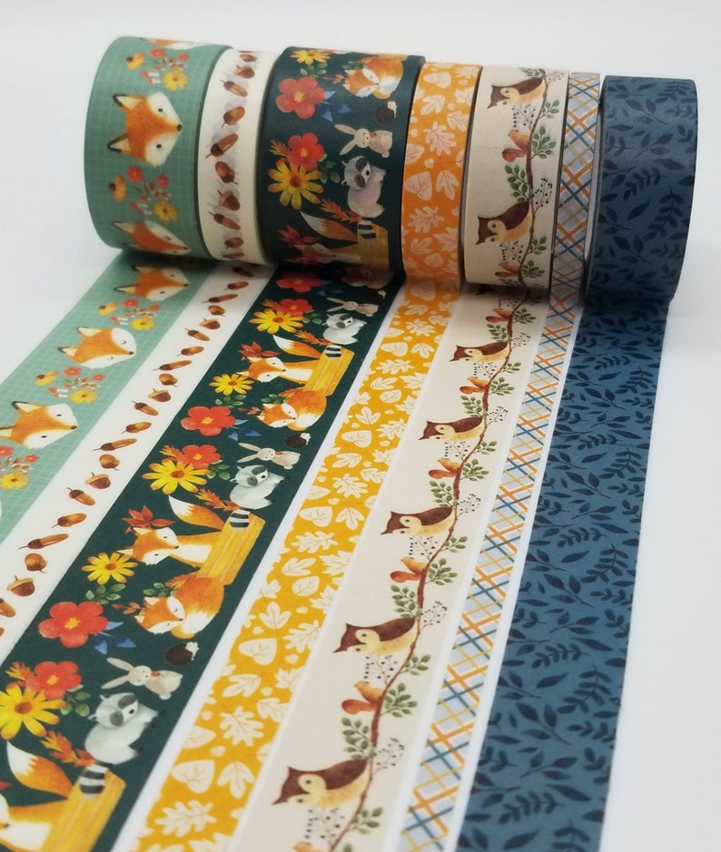 Rolls of Washi Tape Planner Washi Acorns Crafting Tape Fall Washi Tape Fall Colors Owls Woodland Creatures Fox NEW