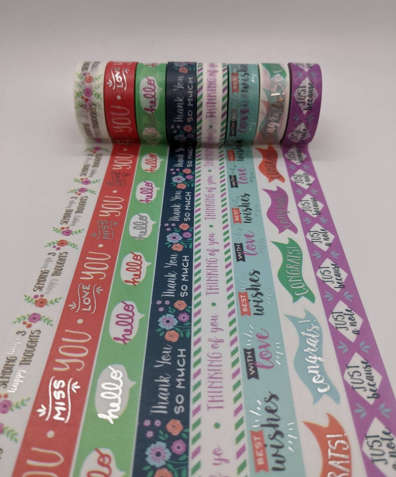 Crafting Tape Thank you planner accessories Washi Tape Samples Bujo greetings 24 inch washi sample love silver foil Planner tape