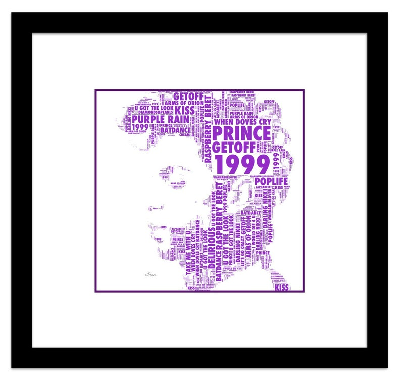 Music Legend Prince Let's Go Crazy Music Icon Pop Art Word Art Song Titles  Digital Print