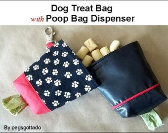 Dog Treat Bag with Poop Bag Dispenser PDF Digital Sewing Pattern is easy to make and useful to give