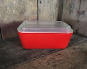 Vintage Pyrex Red Friendship 502 Refridgerator Dish with Lid