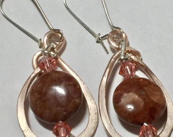 Pomegranite jasper wire wrapped earrings.