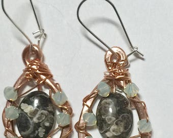 Turritella Gemstone and swarovski crystal wire wrapped and forged wire earrings