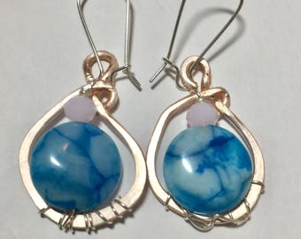 Blue crazy lace agate wire wrapped earrings.