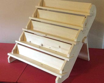 """5-Shelf 24"""" Tray Collapsible riser portable display stand store countertop display craft show display shelf trade show"""