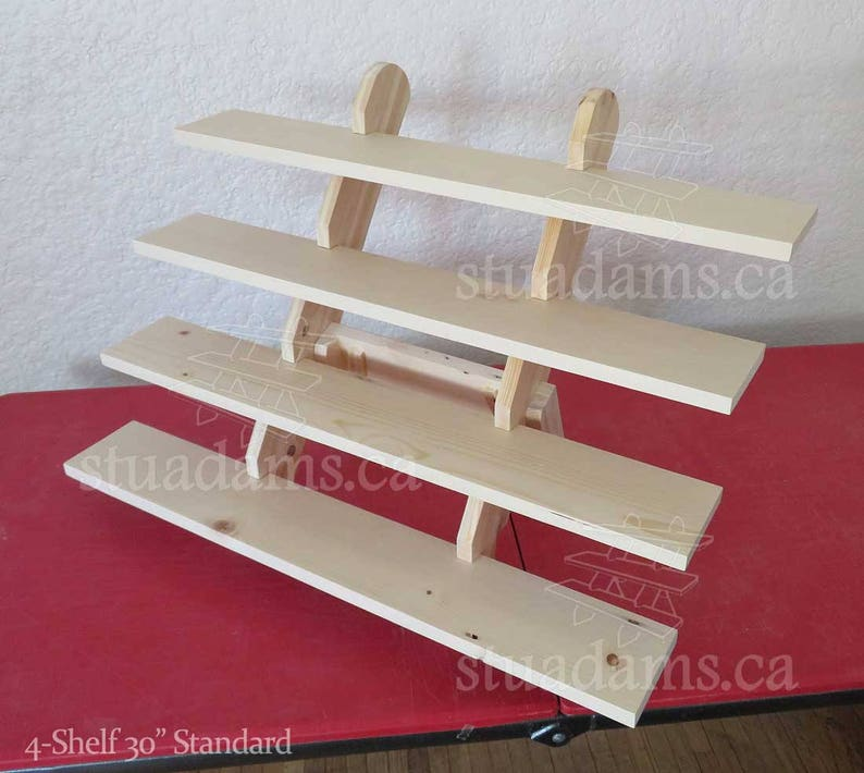 4 shelf 30 wide collapsible riser portable display stand etsy rh etsy com craft fair display shelves wood craft show display shelves