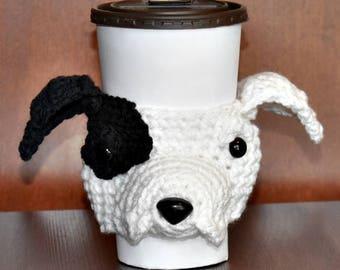 Pit Bull Cup Cozy,Dog Cup Cozy,  Cup Cozy, Cup Sleeve, Coffee Cozy, Dog Lover Gift, Beverage Cozy, Drink Cozy, Animal Cup Cozy, Crochet