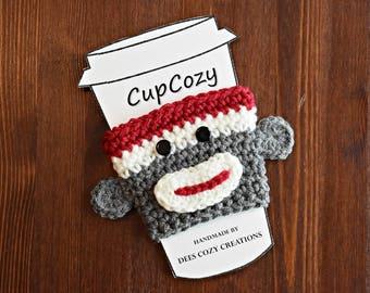 Sock Monkey Cup Cozy, Cup Sleeve, Coffee Cozy, Sock Monkey, Beverage Cozy, Cup Cozy, Beverage Sleeve, Drink Cozy, Crochet