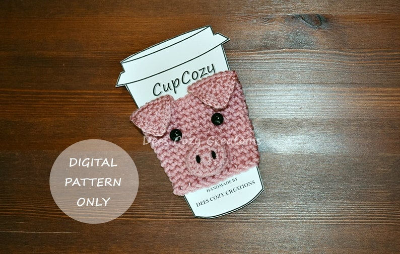 Pig Cup Cozy Crochet Pattern  PDF PATTERN ONLY Cup Cozy image 0