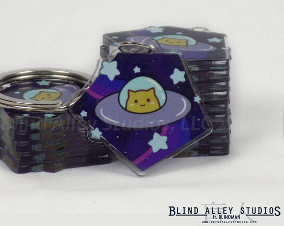 Space Cat Acrylic Keychain