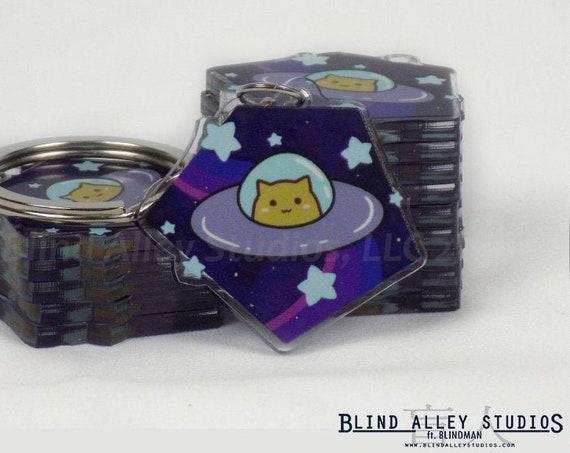 Space Cat Acrylic Keychain
