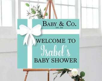 Baby & Co. Baby Shower, Baby and Company, Welcome Sign, Entrance Sign, Robins Egg Blue with White Bow, Audrey Hepburn