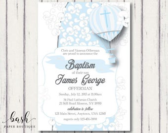 Good Boy Baptism Invitation, Baptism Invitation Boy, Baptism Invitation Boy  Printable, Hot Air Balloon Invitation, Up Up And Away Invitation