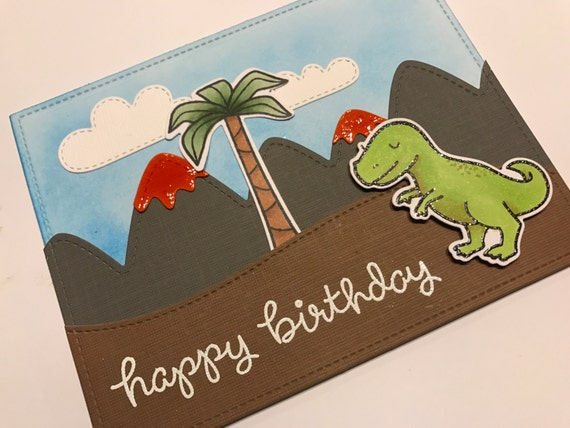 Dino Birthday greeting Card, dinosaur card, handmade dinosaur card,