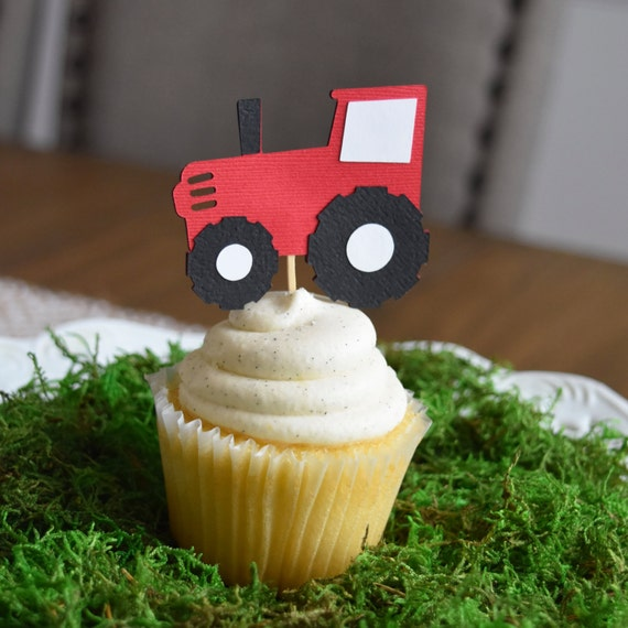 Tractor cupcake toppers, Farm/Farm Theme Party