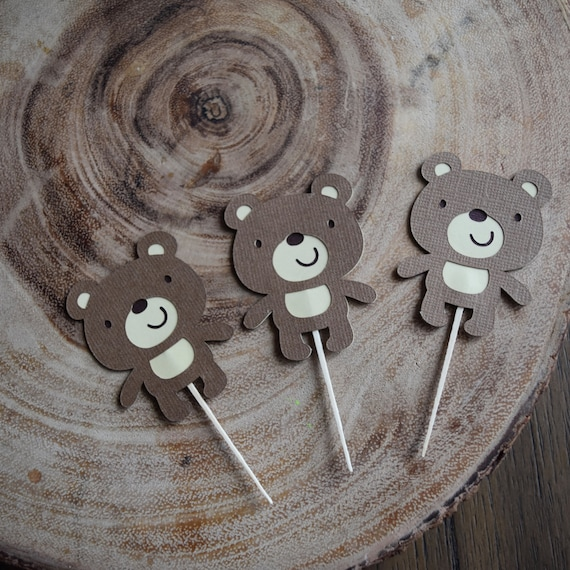 Bear cupcake toppers, Woodland Theme Party