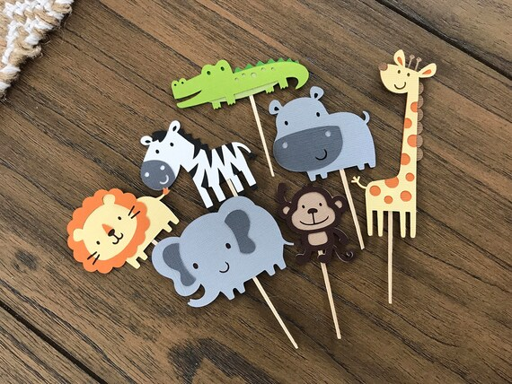 Safari Themed Animal cupcake toppers, Jungle Theme Party
