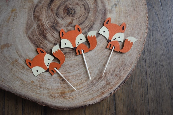 Fox cupcake toppers, Woodland Theme Party