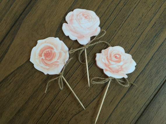 Custom Rose cupcake toppers/Food Picks, summer Party