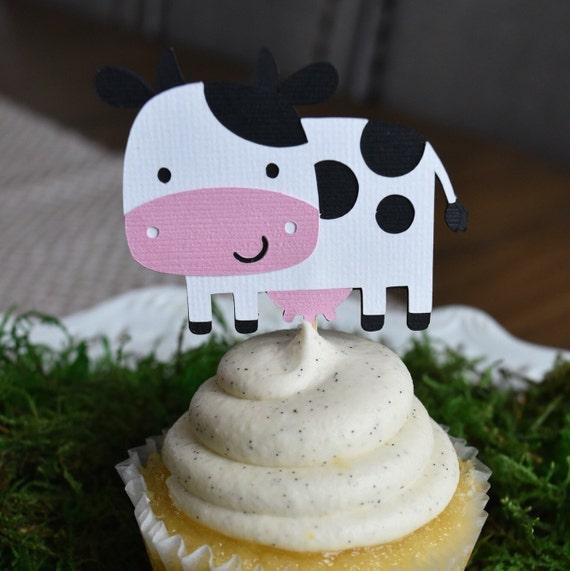 Cow cupcake toppers, Farm/Farm Theme Party