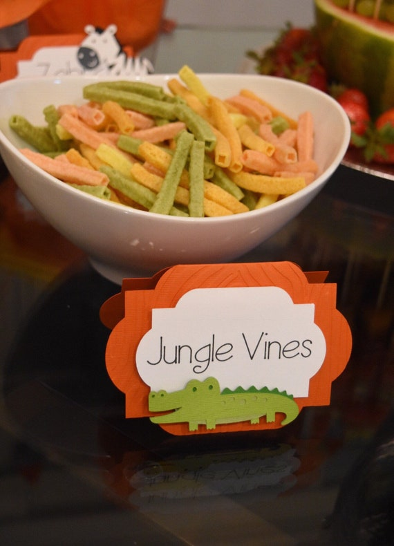 Safari Themed Animal Food Tags, Jungle Theme Party