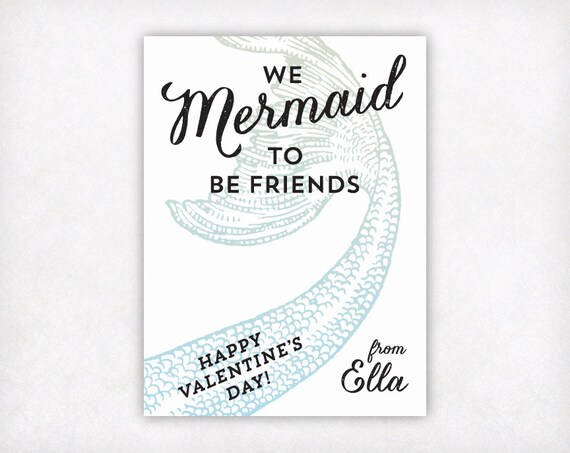 Printable Mermaid Valentines Cards For Girls Personalized Etsy
