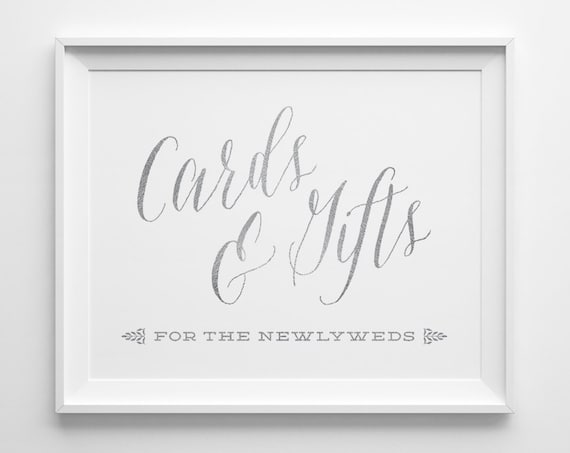 Silver Wedding Signs Wedding Cards And Gifts Sign Gift Table Etsy