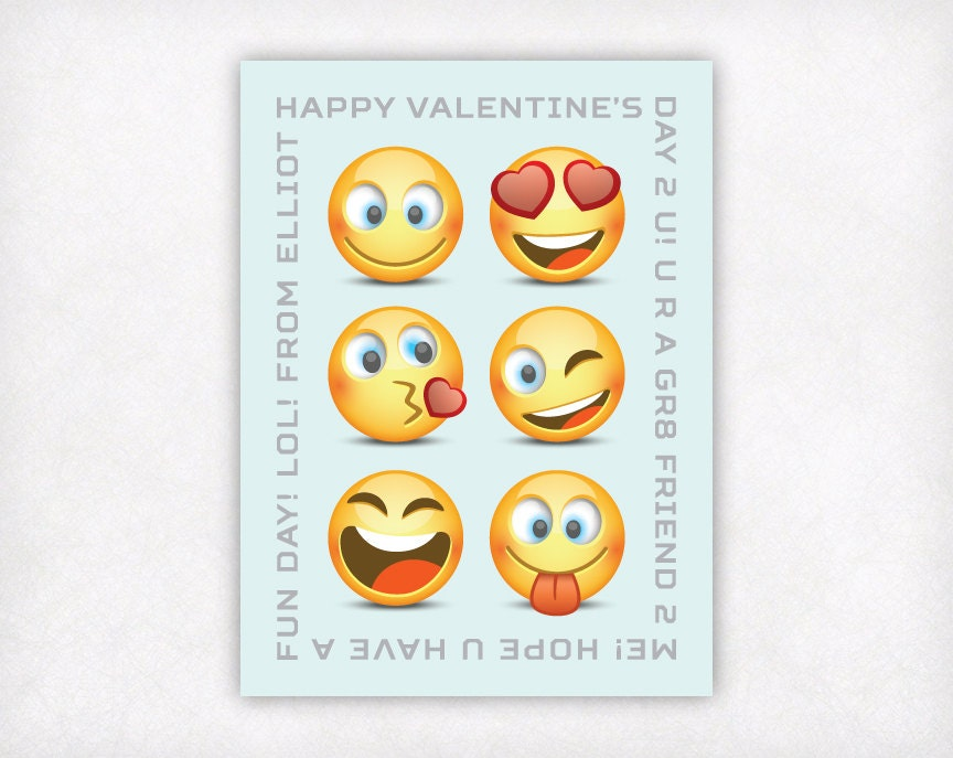 Printable Emoji Valentines Day Cards For Kids Personalized Etsy