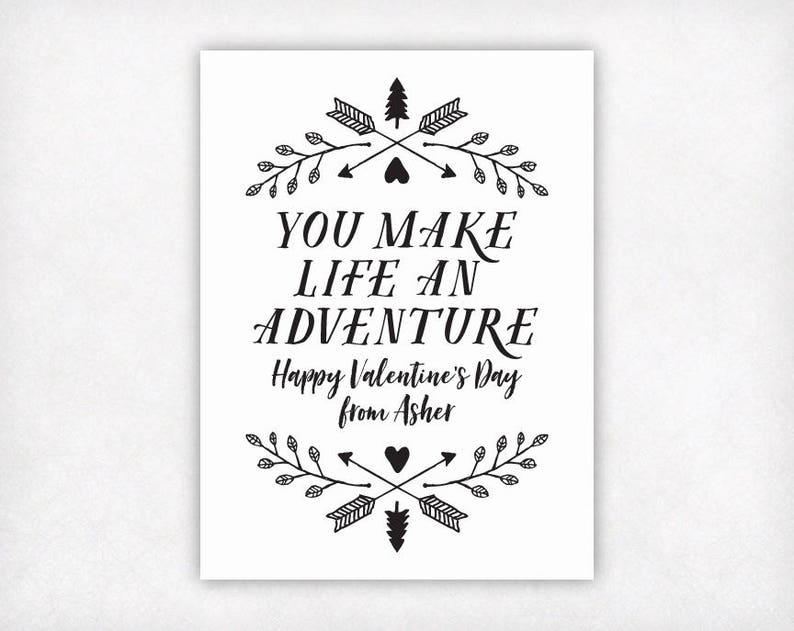 photo relating to Printable Valentines Black and White called PRINTABLE Valentines for Youngsters, Experience Valentines Working day Playing cards, Trees Arrows Leaves Exterior Tenting Black and White Boys Valentine Card