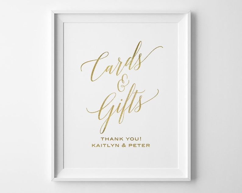 Modern Wedding Cards And Gifts Sign Faux Gold Wedding Signs Etsy
