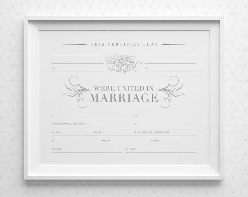 picture relating to Printable Marriage Certificate known as PRINTABLE Romance Certification with Area for 4 Witnesses, Grey White Blank Romantic relationship Certification, 8x10 A4 11x14 Silver Wedding ceremony Keepsake