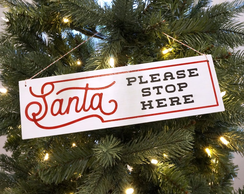 Santa Please Stop Here Hand Painted Wooden Christmas Tree Sign Large Christmas Ornament Wood Front Door Wreath Sign Christmas Decorations