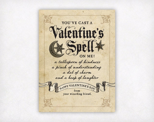 graphic regarding Harry Potter Spells Printable known as PRINTABLE Young children Valentines, Wizard Valentines Working day Playing cards