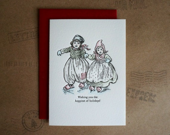 Letterpress Holiday Card, Ice Skating, Dutch Girl and Boy, Watercolor Hand Painted Card, Happy Holidays Card