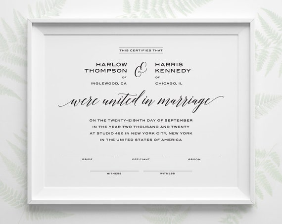 photo relating to Printable Marriage Certificate known as PRINTABLE Ground breaking Relationship Certification, Custom-made Wedding ceremony Keepsake, Straightforward Minimalist Black and White Customized Marriage ceremony Shower Reward WS2BP