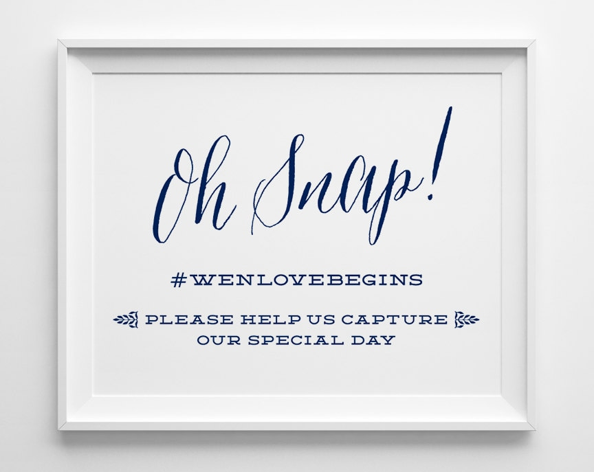 e5fb8fb142df7d Nautical Wedding Signs Oh Snap Hashtag Social Media Wedding