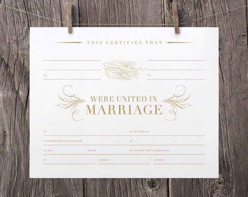 image about Printable Marriage License identified as 8x10 Printable Romantic relationship Certification, Blank Gold Romantic relationship Certification Template, Gold Marriage ceremony Keepsake Connection Certification Calligraphic Hen