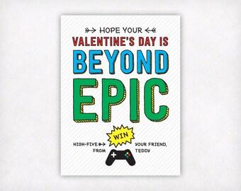 PRINTABLE Valentine Cards, Youtuber Gamer Video Game Valentines Day Cards, Boys Classroom Valentine Cards, Beyond Epic School Valentines