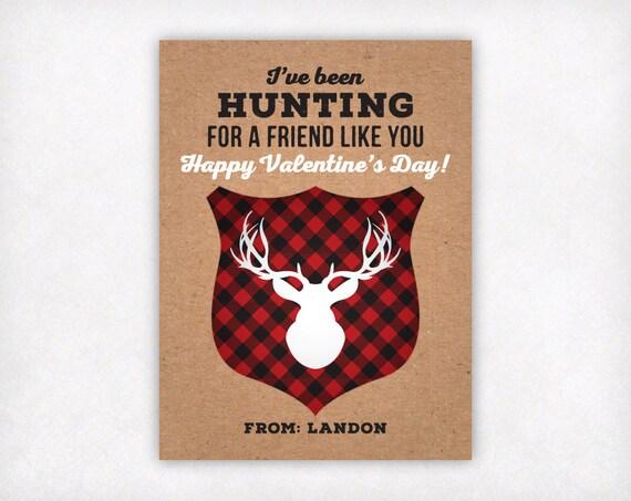 Druckbare Jagd Kinder Valentines Personalisierte Valentinstag Etsy