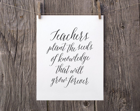 8x10 downloadable gift printable teacher gifts typography etsy