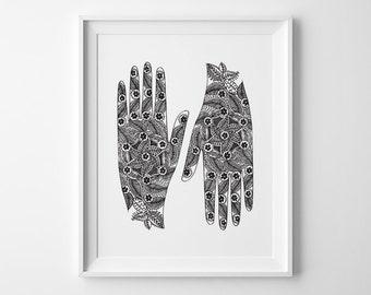Yoga Print, Mehndi Hands Inspirational Print Yoga Studio Decor, Leaves Flowers Yoga Poster Black and White Art Christmas Gift for Yoga Lover