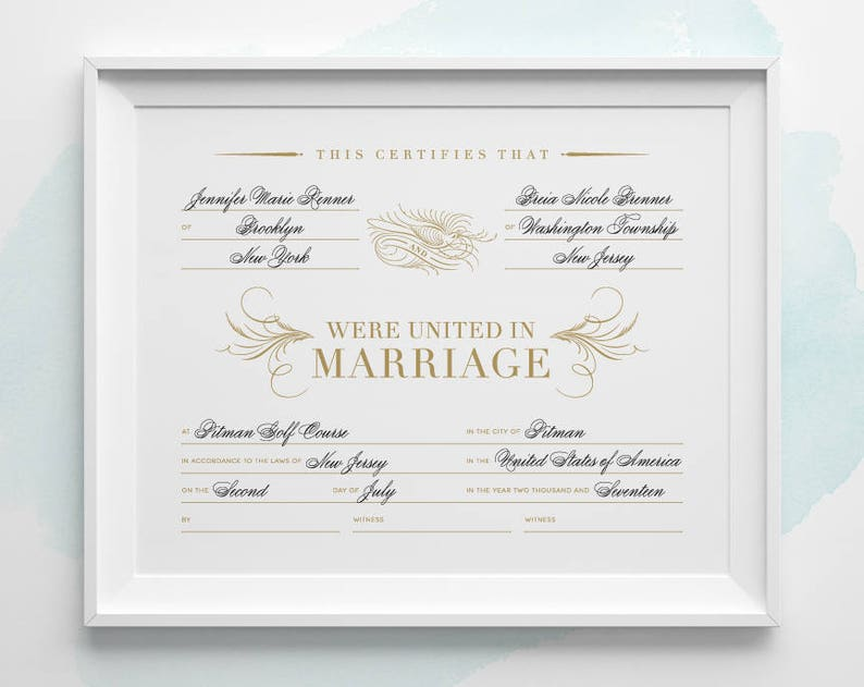 graphic about Printable Marriage Certificates identified as Personalized PRINTABLE Romance Certification, Gold and Black Romantic relationship Certification 2 or 4 Witnesses, 8x10 A4 11x14 Gold Marriage Present Keepsake