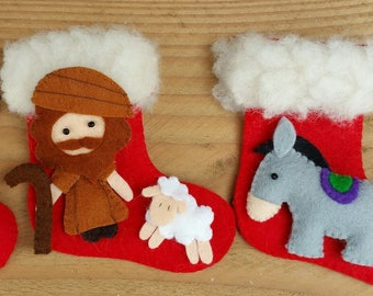 Nativity scene stockings - Shepherd with sheep, Ox and Ass - DIY kit