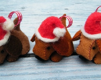 PDF pattern - Felt Christmas Dogs