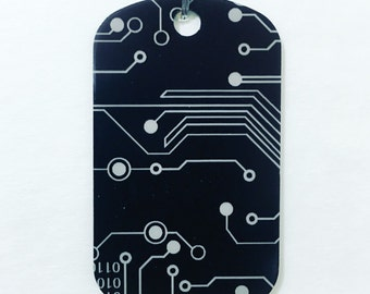 Black Dog Tag Necklace or Keychain Computer Circuit Design
