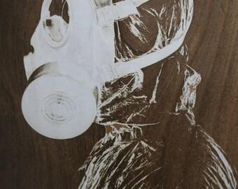 large - Laser Engraved Wood Design - GAS MASK -