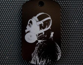 Gas Mask Dog Tag - black- Laser etched -Necklace or keychain