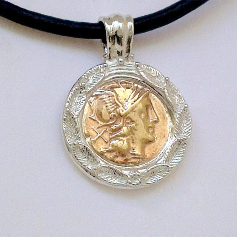 Colgante De Mercurio Con La Impresión De Moneda Romana Etsy