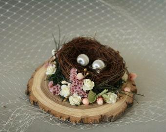 Nest Ring Pillow, Ring Bearer Pillow, Ring Bearer Nest, Woodland wedding, Rustic Wedding Ring